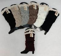 "Knitted Long Boot Cuffs  [2 Buttons/Antique Lace] - Assorted colors. 12""long"